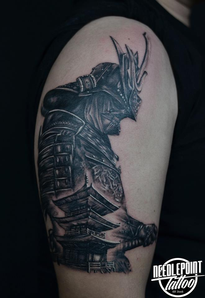 Custom Samurai and Temple tattoo