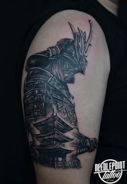Custom Samurai and Temple tattoo