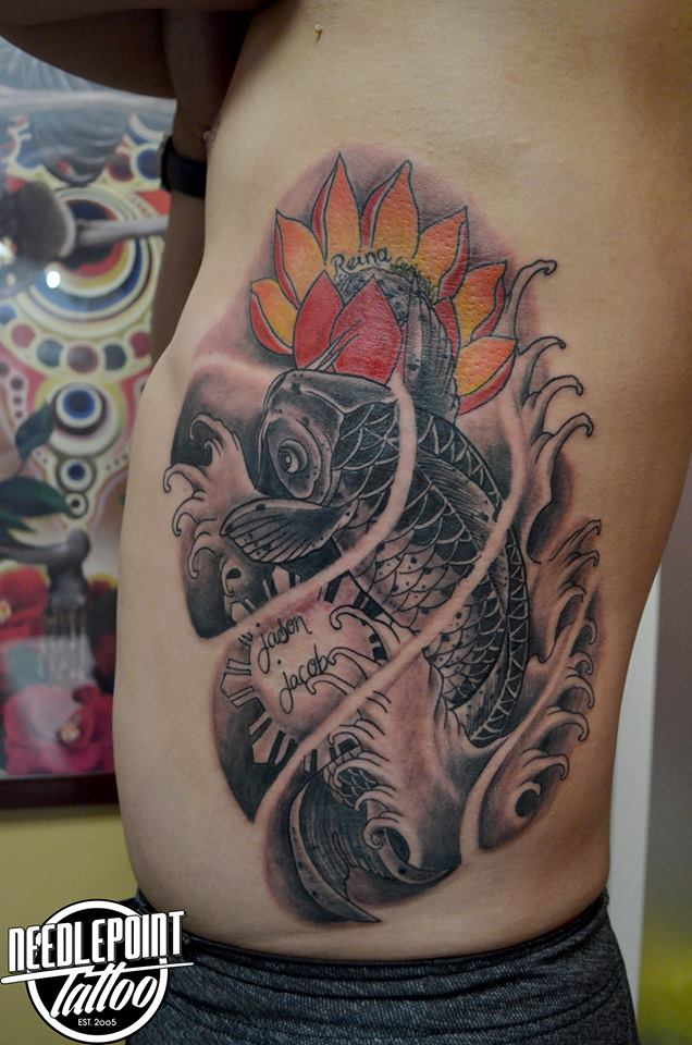 Oriental Koi Fish with lotus tattoo