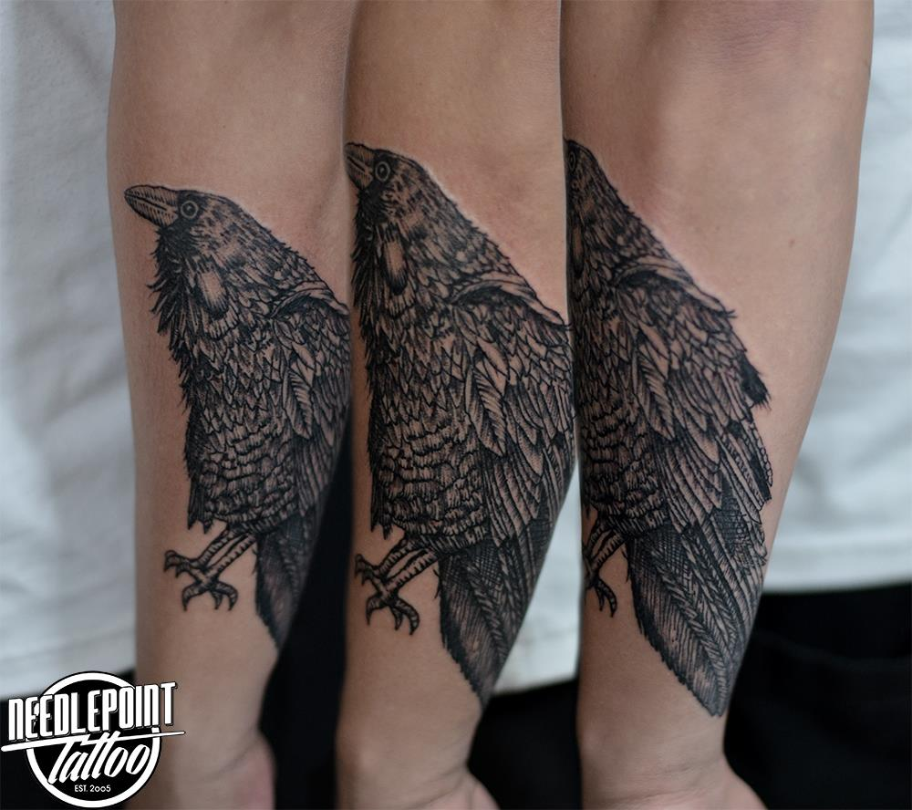 All line Raven tattoo