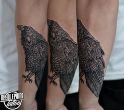 All line Raven tattoo