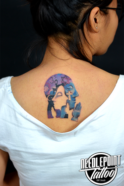 colored all as one tattoo