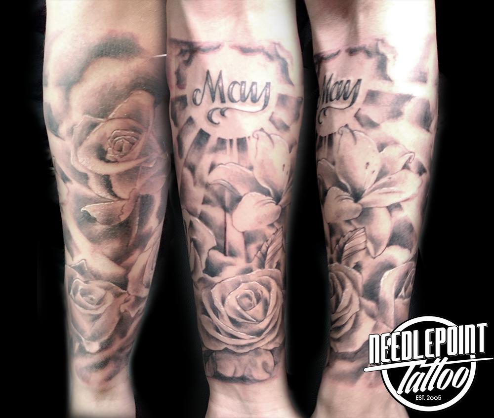 flower themed tattoo