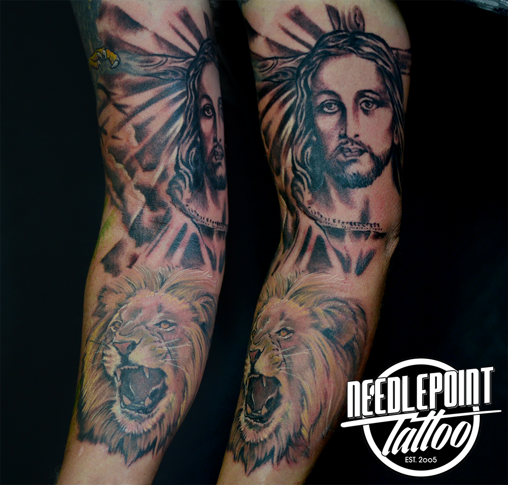 religious 3/4 sleeve tattoo