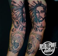 religious 3/4 sleeve tattoo