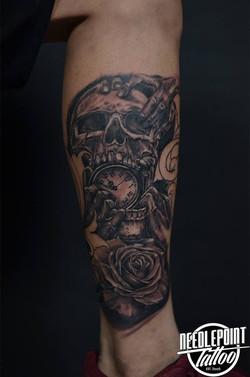 Custom skull and old pocket watch ta