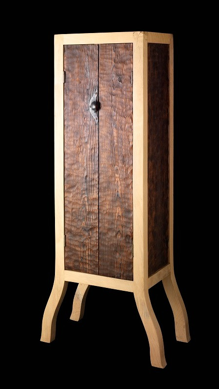 Beech and burnt pine cabinet