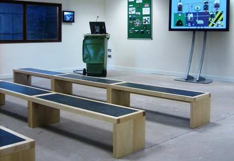 Benches in recycling centre