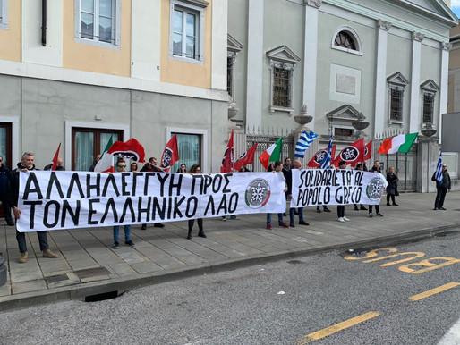Presidio a Trieste in sostegno al popolo greco
