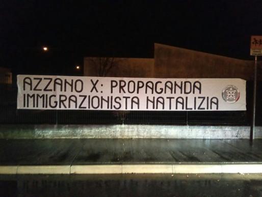 Azzano Decimo, striscione di CasaPound contro presepe immigrazionista