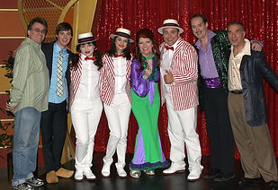 """Cast of """"The Wizards of Waverly Place"""" with guest actor Alan Safier (far right)."""
