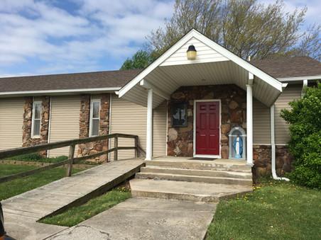 Exterior Door Painted Red - Holy Week 2019
