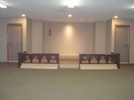 Chancel, Altar Rail, Kneeler Complete, just waiting for the Altar itself -- Spy Wednesday, 2019