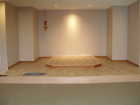 Holy Week 2019, the chancel is complete and awaiting installment of altar and altar rail.