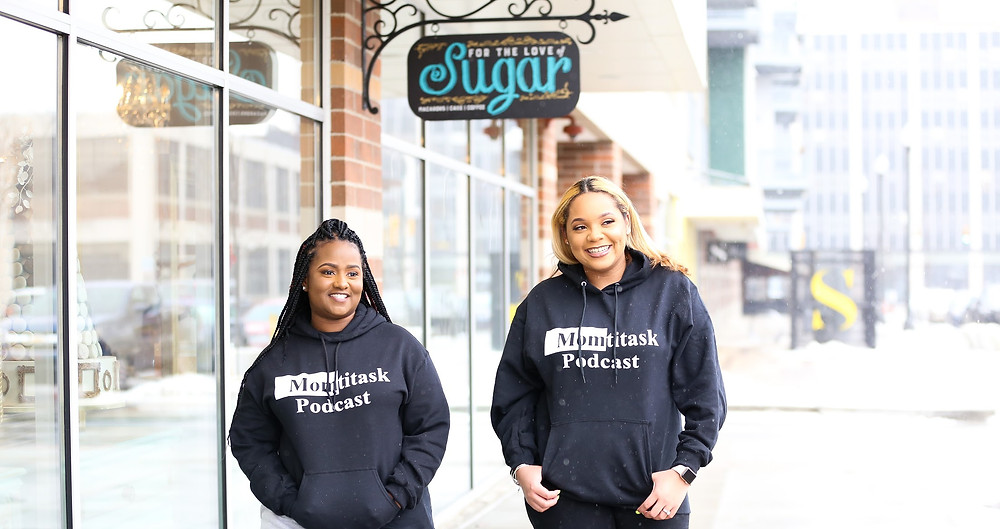 Two mothers who started a podcast walking together