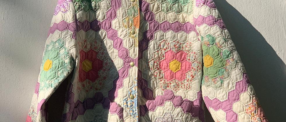 """Lila Classic Coat 60er """"Grandmas Flower Garden"""" Quilt Gr. M"""