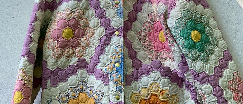 """Lila Classic Coat 60er """"Grandmas Flower Garden"""" Quilt Gr. L"""
