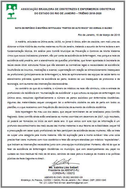 "NOTA DE REPÚDIO Á MATÉRIA INTITULADA ""PARTOS DE ALTO RISCO"" DO JORNAL O GLOBO"