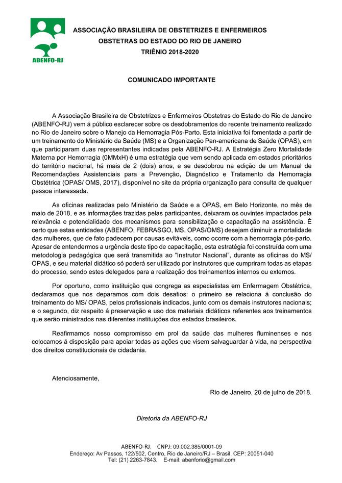 COMUNICADO IMPORTANTE referente ao treinamento realizado no RJ sobre o Manejo da Hemorragia Pós-Part