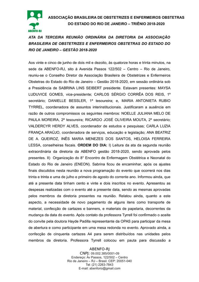 3ª Reunião Ordinária da ABENFO