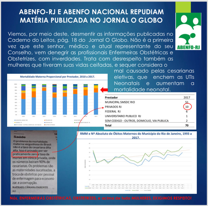 ABENFO-RJ E ABENFO NACIONAL REPUDIAM MATÉRIA PLUBICADA NO JORNAL O GLOBO