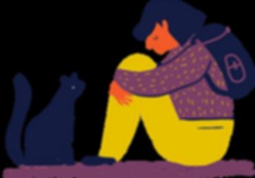 Muchacha y gato