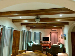 Living area with new beams
