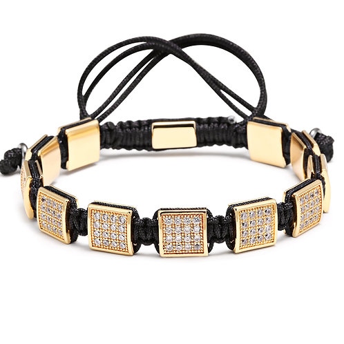 Luxury France CZ Square 24k Gold Plated Bead Bracelet