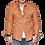 Thumbnail: Rustic Orange Slim Fit Western Biker Sheepskin Leather Shirt