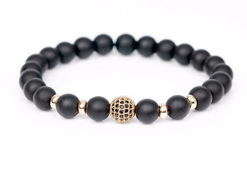 Trendy Gold Plated CZ Black Stone Bracelet
