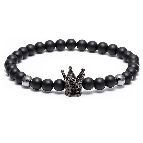 6mm CZ Stone Black Crown Crystal Black Bead Bracelet