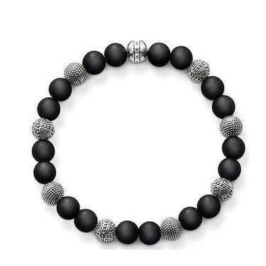 Vintage Silver Plated Handmade Crystal And Black Bead Bracelet