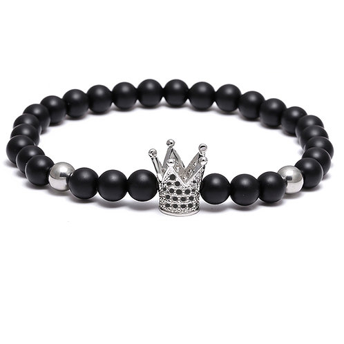 6mm CZ Stone Silver Crown Crystal Black Bead Bracelet