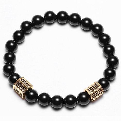 Buddha Bangle Gold Plated CZ Black Stone Bracelet