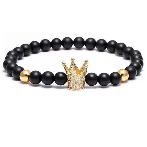 6mm CZ Stone Gold Crown Crystal Black Bead Bracelet