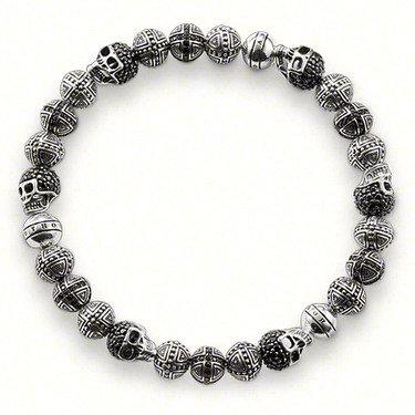 Vintage Silver Plated Handmade Crystal Skull Bead Bracelet