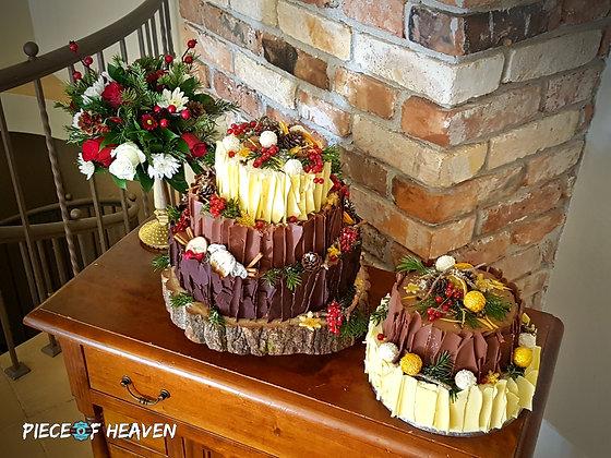 Сватбена зимна торта с три вида шоколад