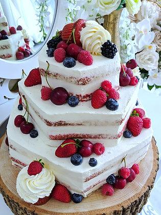 Триетажна многоъгълна торта с къпкейкове - ягоди и мента