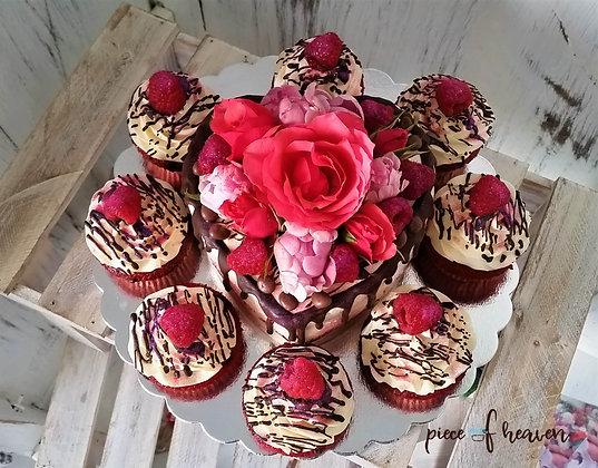 Малиново-ментова торта с къпкейкове