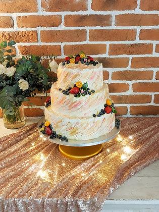 Триетажна брауни торта с плодове