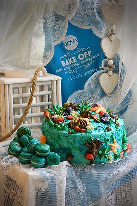 """Детска торта """"Морско дъно"""" с ментови френски макарони"""