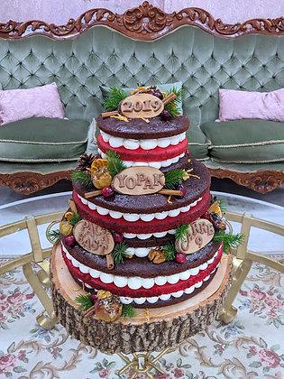 Зимна гола торта с червени боровинки