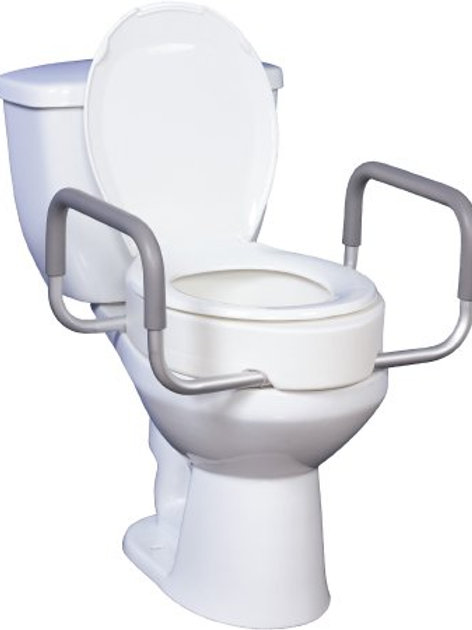 Raised Toilet Seat with Arms drive™ 3-1/2 Inch White 300 lbs.