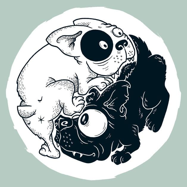 Dogz yin yang dogs greeting card martin