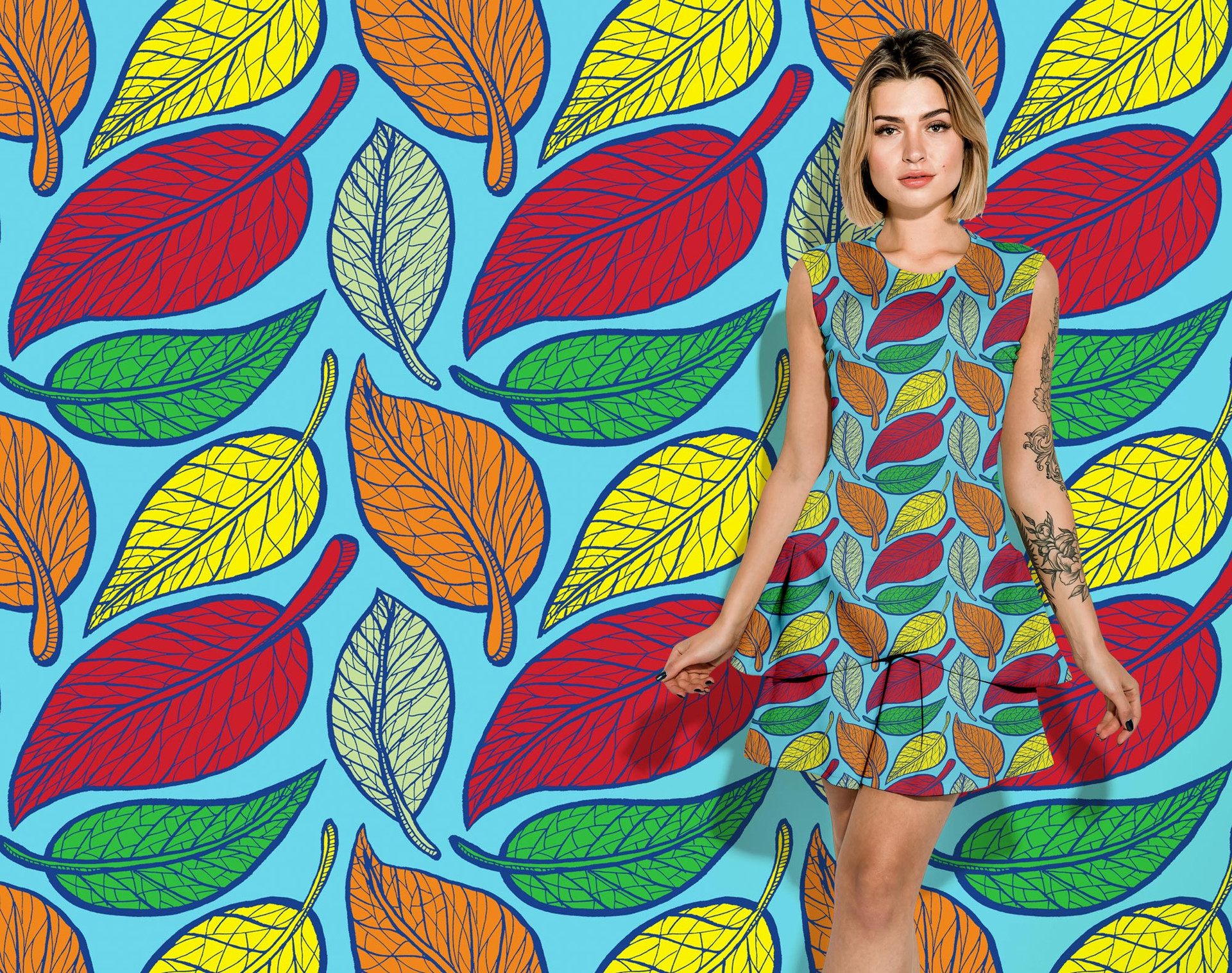 Autumn Leaves pattern on a dress