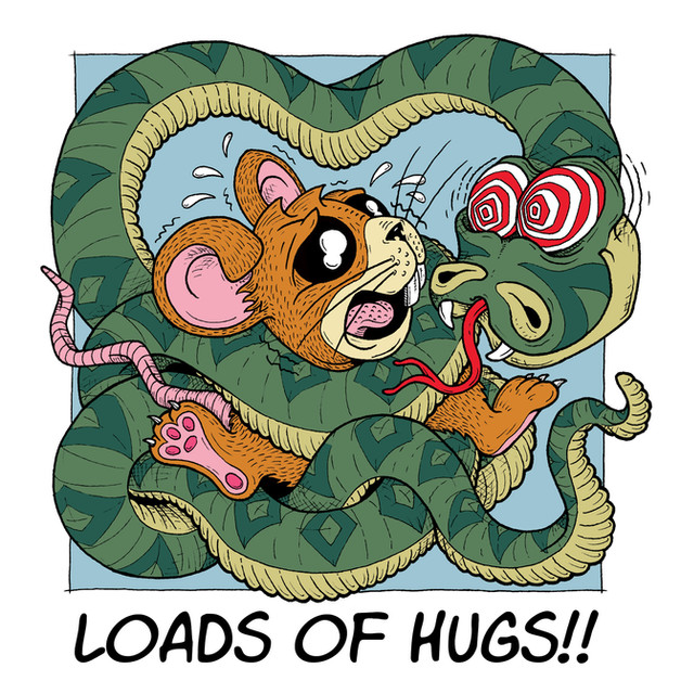 Snake hugs Mouse greeting card martin ma