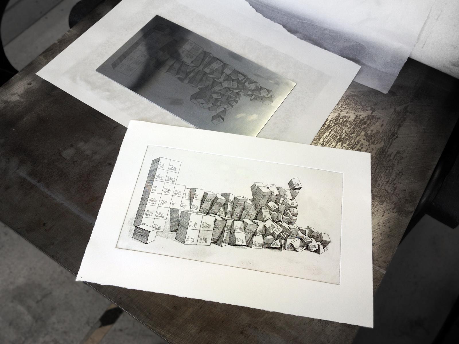 periodic table printing etching aquatint