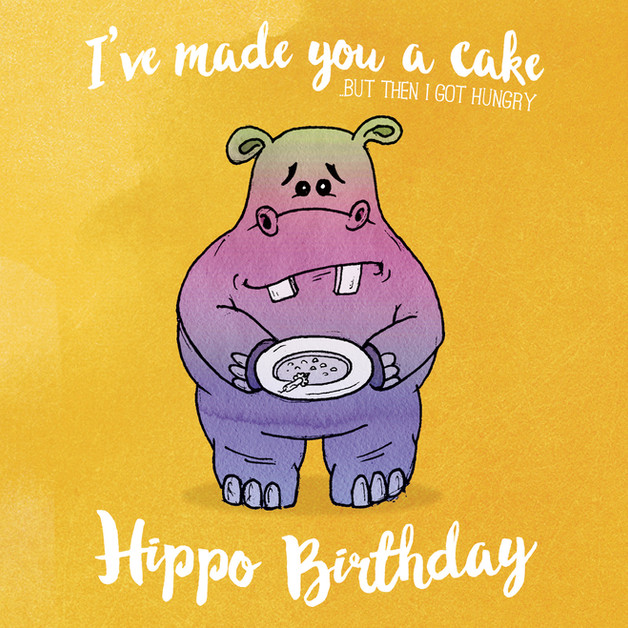 Hippo Birthday greeting card martin marc