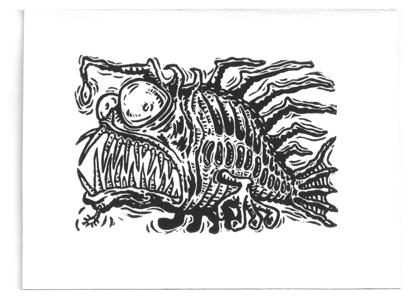 schizofish-linocut-martin-marcin-reznik-