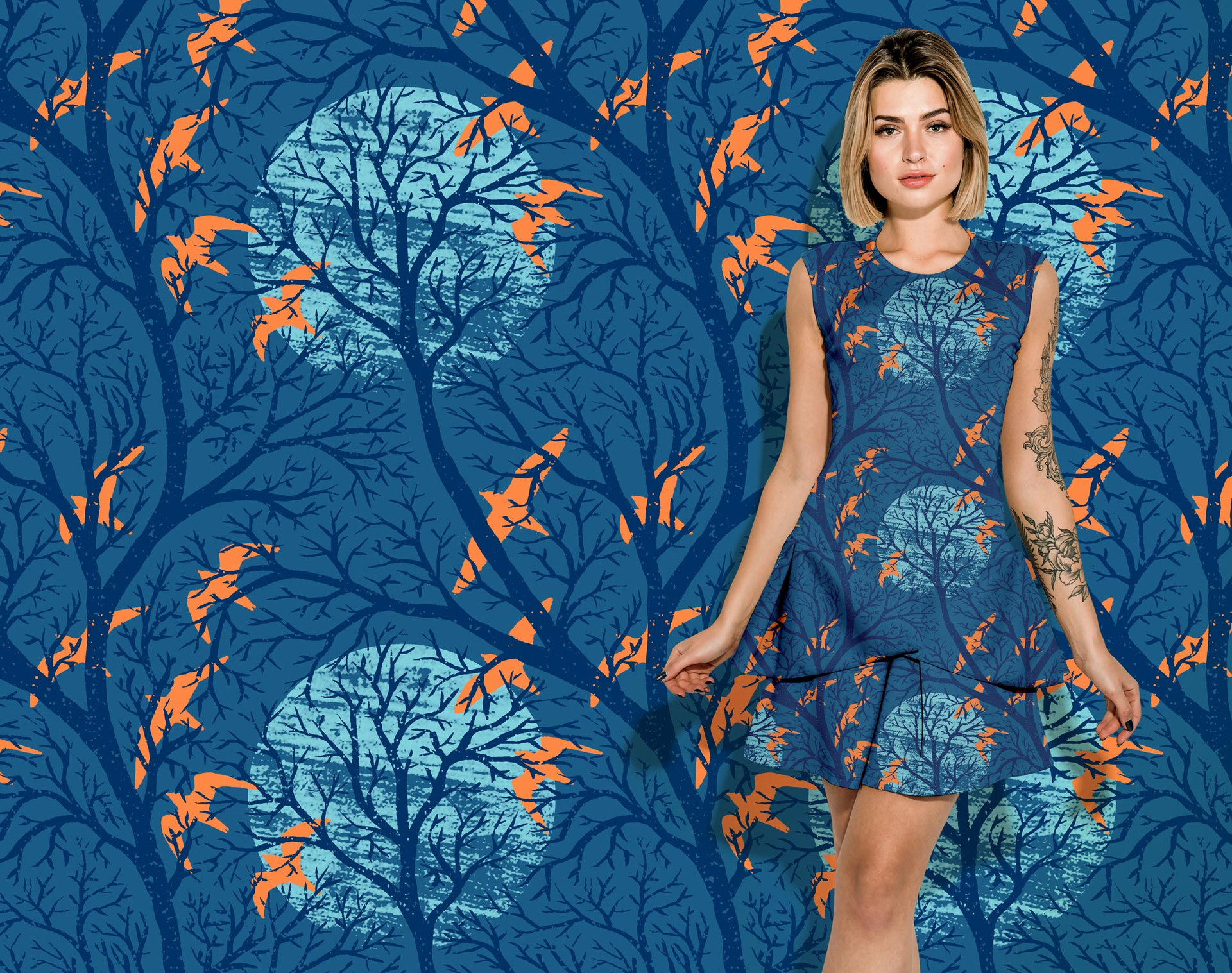 Blue Moon pattern on a dress
